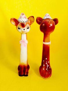 Bambi Deer Vintage Anthropomorphic Salt and Pepper Shakers Napco Tall Tallboy | eBay