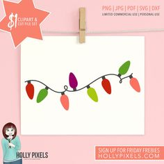 Dollar Spot Christmas Clipart and Christmas SVG by HollyPixels - Our Dollar Spot is HOT! This holiday design set features Christmas clipart holiday lights and comes with PNG files for clipart users and cut files for crafters! Yep, you get this design for your Christmas crafts for just $1! Adorn your clothes, design your planner pages, or create really cute craft projects this Christmas, only for a dollar.