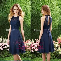 Wholesale 2014 Prom Dresses - Buy 2014 Short Navy Blue Cheap Bridesmaid Dress Halter High Neck Cutout Back Lace Knee Length Beach Cocktail Gowns Prom Dress, $75.2 | DHgate