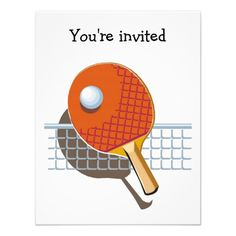 Table Tennis Ping Pong Party Invitations