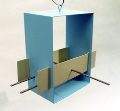 Cubist Modern Bird Feeder in Aqua by joepapendick on Etsy, $82.00