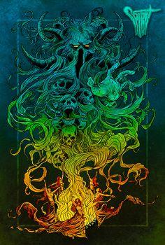 album art Spirit - album illustration on Behance Dark Fantasy Art, Fantasy Artwork, Arte Horror, Horror Art, Arte Dope, Dope Art, Art And Illustration, Illustrations, Psychedelic Art
