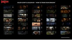 "color script & color key  de la película ""HOW TO TRAIN YOUR DRAGON"""