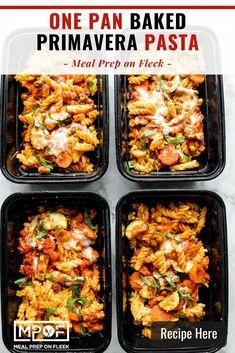 One Pan Baked Pasta Primavera - Meal Prep on Fleek™ Vegan Meal Prep, Lunch Meal Prep, Easy Meal Prep, Easy Meals, Dinner Meal, Freezer Meals, Lunch Recipes, Healthy Dinner Recipes, Pasta Recipes