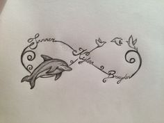 dolphin infinity tattoos – Tattoo Tips Ocean Tattoos, Infinity Tattoos, Body Art Tattoos, Print Tattoos, Tatoos, Tattoo You, Tattoos With Kids Names, Tattoos For Daughters, Sister Tattoos