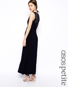 ba2631b21ea ASOS PETITE Exclusive Plunge Maxi Dress with Lace Back Detail Navy  Bridesmaids