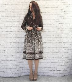 Vintage 70s Cascade Border Print Dress Brown White Willows Belted Knee Length XL by PopFizzVintage on Etsy