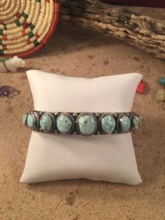 Dry Creek Turquoise & Sterling Silver Bracelet Signed By June Delgarito