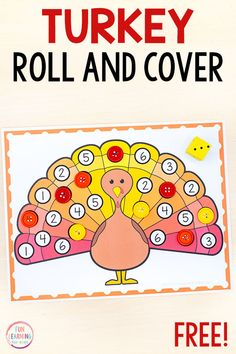 Try this fun turkey roll and cover math game for a fun way to learn numbers, counting, subitizing and addition. It's great for turkey math centers! Thanksgiving Activities For Kindergarten, Thanksgiving Activities For Kids, Thanksgiving Preschool, Kindergarten Activities, Preschool Activities, Preschool Classroom, Preschool Learning, Fun Learning, Classroom Ideas