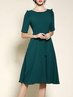 Half Sleeve Ruffled Bow A-line Girly Midi Dress