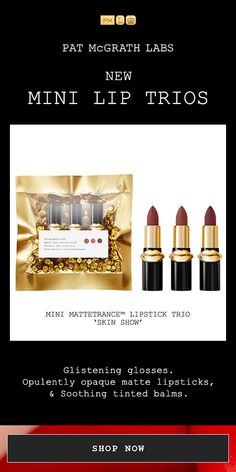 Shop party-ready, Holiday Minis lip kits at PatMcGrath. Red Lipstick Makeup, Brown Lipstick, Matte Lipsticks, Contour Makeup, Neutral Lipstick, Ysl Beauty, Beauty Makeup, Eye Makeup, Daily Beauty
