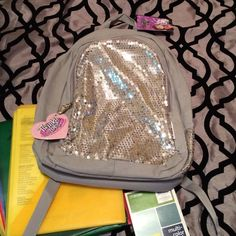 NWT- Skechers Sequined Backpack (Twinkle Toes) Beautiful light Gray Back Pack with Sequined front, side & straps. Has silver tone tennis shoe detail and heart name tag. Never used!! Twinkle Toes by Skechers Bags Backpacks