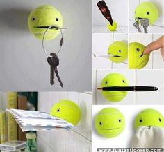Tennis Balls with suction cups. These could be cute painted and stuck all over for some easy access in the dorm!