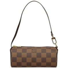 Preowned Louis Vuitton Brown Damier Ebene Pochette Papillon (5,630 MXN) ❤ liked on Polyvore featuring bags, handbags, brown, top handle bags, handle bag, white handbags, top handle handbags, canvas bag and brown handle bags