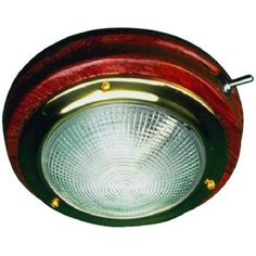 SeaDog 400206 Brass and Teak 12V Prewired On/Off Switch 18.4 Watt 5 inch Dome Light