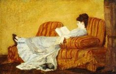 """""""Young Lady Reading,"""" by Mary Cassatt (May 22, 1844–June 14, 1926), American painter and printmaker. She was born in Pennsylvania, but lived much of her adult life in France, where she first befriended Edgar Degas and later exhibited among the Impressionists. Cassatt often created images of the social and private lives of women, with particular emphasis on the intimate bonds between mothers and children."""