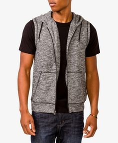 An athletic vest featuring a drawstring hood. Full zipper placket. Kangaroo patch pocket. Marled knit. Lightweight. by Forever 21