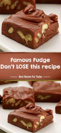 Desserts Recipes Famous Fudge Don't LOSE this recipe Fudge Recipes, Candy Recipes, Sweet Recipes, Cookie Recipes, Dessert Recipes, Healthy Recipes, Simple Recipes, Christmas Desserts, Christmas Baking