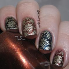 Lavish Layerings: 2 Fall-Inspired Nail Designs featuring Zoya Ignite and Entice and a Born Pretty Store Stamping Plate