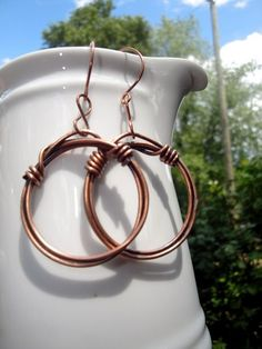 Copper Circles Earrings with copper ear wires
