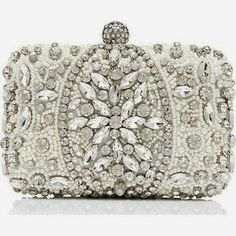 Forever New Annalise Embellished Clutch and other apparel, accessories and trends. Browse and shop 8 related looks. Embellished Purses, Beaded Purses, Beaded Bags, White Clutch, White Handbag, Clear Handbags, Beaded Clutch, Vintage Purses, Forever New