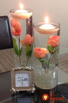 New wedding table decorations silver floating candles Ideas Creation Deco, Diy Centerpieces, Quinceanera Centerpieces, Quinceanera Ideas, Picture Centerpieces, Flower Centrepieces, Water Beads Centerpiece, Coral Wedding Centerpieces, Floating Flower Centerpieces