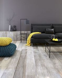 whitewashed wood, gray, teal, yellow