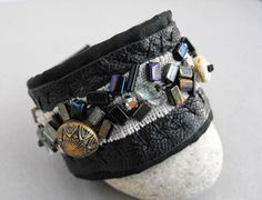 Black Leather Cuff Bracelet with Vintage Bead and by luluanne, $45.00