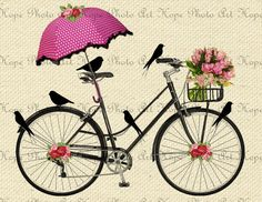 Printable Spring Day Bicycle Ride Digital Collage Sheet Iron on Transfer scrapbooking journal canvas birds floral roses umbrella Spring Day Bicycle Ride - Image Transfer Burlap Feed Sacks Canvas Pillows Tea Towels greeting cards Image Deco, Bicycle Art, Scrapbook Journal, Scrapbook Designs, Decoupage Paper, Spring Day, Illustrations, Collage Sheet, Canvas Collage