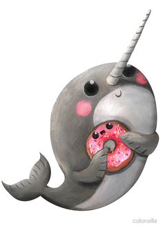 Cute Narwhal with donut by colonelle