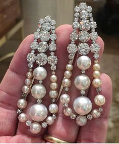 SABBA Diamond and Natural Pearl Ear Pendants #ForSale #FDGallery #SABBAjewels