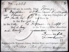 1820s birth certificate of Florence Nightengale via National Archives