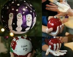 Gift ideas - Did these with the girls. One made reindeer, the other snowmen on clear plastic ornaments from Michaels. We filled the ornament with snowy glitter, too.  I also glazed the ornament with sparkle glaze so the paint won't chip over time.