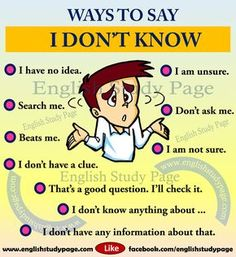 Other ways to say I don't know english. Other ways to say I don't know in English Learning Spoken, Learn English Grammar, Learn English Words, English Language Learning, English Study, Education English, English English, English Course, German Language