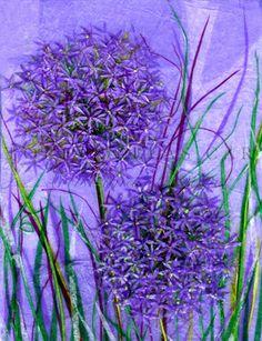 'Allium Allium' by Victoria Bellas Carter Art Quilting, Surrealism Art, Allium, Pastel Art, Mixed Media Painting, Embroidery Ideas, Tissue Paper, Purple Flowers, Pastels
