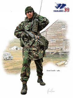 Scots Guards Falkland 1982 British Soldier, British Army, Military Men, Military History, Army Uniform, Military Uniforms, Falklands War, Armed Conflict, Royal Marines