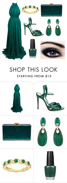 """""""Green Stem"""" by rnieass on Polyvore featuring Alexander McQueen, Gucci, Edie Parker, Dominique Denaive and OPI"""