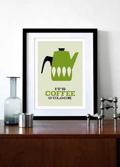 Cathrineholm poster print Mid Century Modern home kitchen art coffee poster tea - It's Coffee O'clock Olive A3. $29.00, via Etsy.