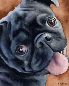 BLACK PUG Original Watercolor Painting by Artist by k9artgallery, $175.00