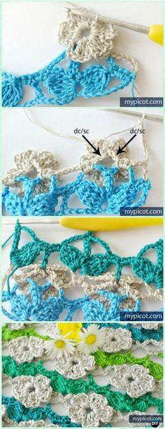 rochet Wild Flower Stitch Free Pattern [Five petals] - Crochet Flower Stitch Free Patterns