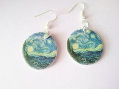 Starry Night Van Gogh Art History Dangle Earrings by JellyBreShop
