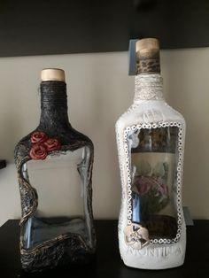 Recycled Glass Bottles, Glass Bottle Crafts, Wine Bottle Art, Painted Wine Bottles, Diy Bottle, Vintage Bottles, Bottles And Jars, Potion Bottle, Decorated Bottles