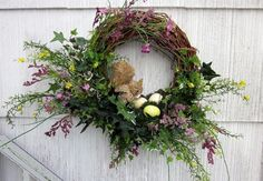 Woodland Wreath Floral Squirrel Bird's Nest & Eggs - Hand Made Grapevine Wall Decor One of a Kind - Treasury Item. $42.50, via Etsy.