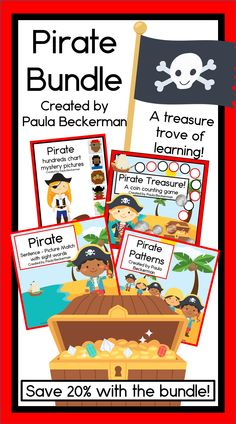 This Pirate Bundle is a treasure trove of early learning! Your students will have fun while reading, counting coins, working with numbers to 100 and making patterns with these four activities. Use them as centers, with small groups, or even for 1-1 tutoring. TpT $