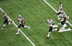Danny Amendola #80 of the New England Patriots, Nate Ebner #43, Tom Brady #12, James Develin #46, and Jimmy Garoppolo #10 take the field prior to Super Bowl 51 at NRG Stadium on Feb. 5, 2017 in Houston, Texas.