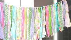 Easter Rag Tie Fabric Bunting  Spring Garland  by backyardprims, $11.95