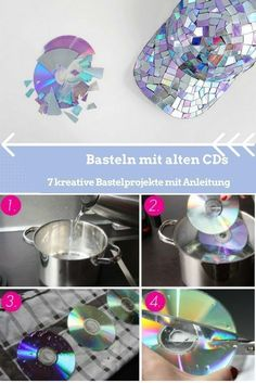 Basteln mit alten CDs – 7 kreative Bastelprojekte mit Anleitung You don't have to end up in the trash can. In addition, there are very good prerequisites for imaginative handicrafts with CDs. Cd Mosaic, Cd Diy, Diy Bottle, Diy Candles, Diy Crafts For Kids, Handicraft, Diy Room Decor, Upcycle, High Gloss