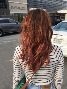 Layered red hair.