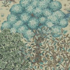The Brook Wallpaper 'The Brook' on a beige background is inspired by medieval tapestries. This has been newly created by Morris & Co.'s designer Alison Gee.