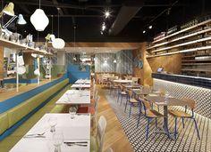 Colorful Ceramic Tiles at the Decor of an Italian Restaurant pendant lights italian restaurant decor